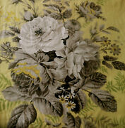 Antique Vintage English Polished Cotton Roses Floral Fabric 1yellow Gray Green
