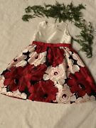 Gymboree Christmas Dress Size 5 Flowers Red Fast Shipping Silk Button Back