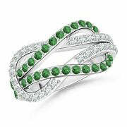 0.65ctw Encrusted Tsavorite And Diamond Infinity Knot Ring In 14k Gold/platinum