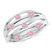 Scattered Split Seven Pink Tourmaline Wedding Band Ring In Gold/platinum