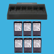 6 Port Two Way Radio Battery Charger + 6x Knb-24l Battery For Kenwood Tk-3160