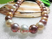 Aaaaa Luster 1712-15mm Real Natural South Sea Multicolor Pearl Necklace 14k