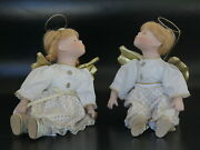 """Pair Of Angels – Blond Boy And Girl Porcelain Sitting Dolls C. 24cm/9"""""""