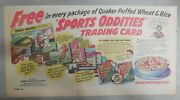 Quaker Cereal Ad Sports Oddities Trading Cards Premium 1950's 7.5 X 15 Inches