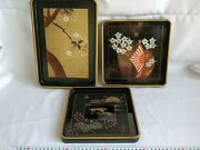 Wwii Japanese Discharge Memorial National Police Reserve Tray Obon Set-b1216-