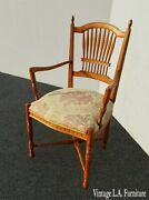 Vintage French Country Ethan Allen Side Chair With Carved Wheat Sheaf Spindles