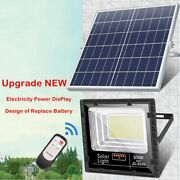 25w-300w Solar Led Flood Light With Display Remote Outdoor Security Floodlights