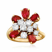Vintage Ruby And Diamond Cluster Ring In 18kt Gold Size 6