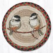 Set Of 2 Braided Jute Round Placemat/trivet/swatch. Chickadee. Earth Rugs.10