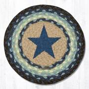 Set Of 2 Braided Jute Round Placemat/trivet/swatch. Blue Star. Earth Rugs.10