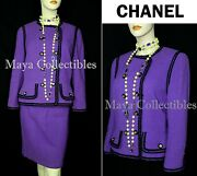Purple Wool Tweed Jacket And Skirt Suit Silk Lining 18 Cc Buttons 8000