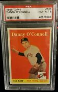 1958 Topps 166 Danny O'connell Giants Psa 8 - Nm - Mt