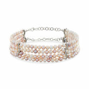 Vintage Multicolored Cultured Pearl And Diamond Choker Necklace In 18kt White