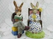 Vintage Royal Doulton Bunnykinsgrampaand039s Story And Queen Of May Figurines