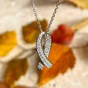 14kt White Gold Pave Diamond Breast Cancer Awareness Ribbon Pendant Necklace New