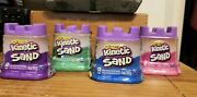Original Kinetic Sand 5oz. Big Lot Of 4 Containers Pink Blue Green Purple