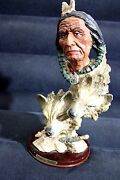 Ashley Belle Native Indian And Wolves Head Resin Art Sculpture