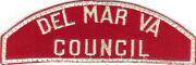 Boy Scout Rws Del Mar Va / Council Red And White Full Strip Very Rare