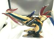 Colorful Vintage Large Murano Art Glass Striped Figural Rooster Statue