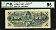 Brazil One Mil Reis Nd 1902 Pick-4 About Unc Pmg 55