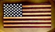 Home Decor Reclaimed Wood American Flag Art Hand Painted Craft