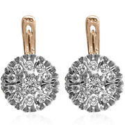 14k Solid Rose And White Gold Genuine 1.60 Ct Diamond Russian Style Earrings E1274