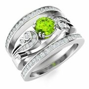 Natural Diamond And Peridot Vintage Wedding Engagement Ring Set In 14k White Gold