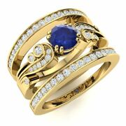 Natural Diamond And Blue Sapphire Vintage Wedding Engagement Ring 14k Yellow Gold