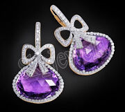 Christmas 2.38ct Natural Diamond Amethyst 14k Solid Yellow Gold Hoops Earring