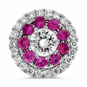 Estate .74ct Diamond And Aaa Pink Sapphire 14kt White Gold 3d Flower Stud Earrings