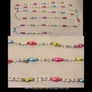 Antique Victorian Mercury Glass Beaded And Long Bead Christmas Tree Garland 100in