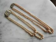 Set Of Two Antique Faux Pearl Art Deco Two Stand Necklaces W/ Rhinestone Clasps