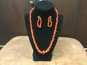 Vintage South-west Red Branch Natural Coral Necklace And Earrings Sterling Navajo
