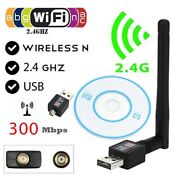 Wifi Usb Adapter 300mbps Internet Wireless Antenna Card Dongle Whit Cd