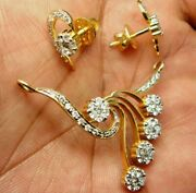 Christmas 2.86ct Natural Diamond 14k Solid Yellow Gold Mangalsutr Necklace Set