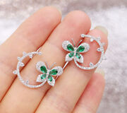 2.41ct Natural Diamond 14k Solid White Gold Emerald Stud Screw Back Earring