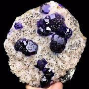 2115g China Famous Mineral Purple/blue Trapezoidal Fluorite Based On The Calcite