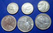 Silver Scrap 1968 Elizabeth Ii Canada 25 And 10 Cent Silver Coins Lot Of 6