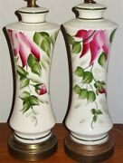 Pair 1940s-1950s Hand Decorated Floral Ceramic Lamps