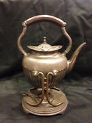 Middletown Plate Co/silver Plated/marked/tea Pot W/carraige And Burner 3 Pc Set