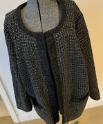 Maggie Barnes Jacket Black And White Plus Size 2x Open Front Cardigan Coat Sparkly