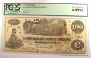 1862 Confederate Csa 100 Note T-39. Certified Pcgs 64 Ppq Choice Uncirculated