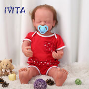 Ivita 22'' Eyes Closed Girl Silicone Reborn Dolls Root Hair Baby With Skeleton