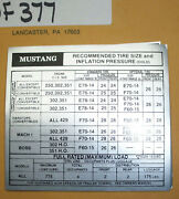 Ford Mustang 250302351390429 Recommended Tire Pressure Decal 377