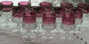 12 Pcs Tiffin Franciscan Kings Crown Ruby Stain 5 1/2h X3d Water Goblets