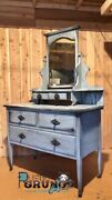 Antique Rustic Shabby Chic Hand Painted In Chalk Wood Vanity Dresser W/mirror