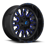 4 20x10 Fuel Gloss Black And Blue Stroke Wheels 6x135 And 6x139.7 For Toyota Jeep