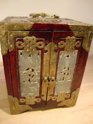 Vintage Asian Chinese Wooden Inserts Jewelry Box Chest Antique Box 7 Tall