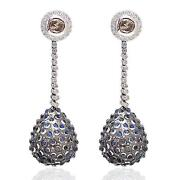 Pave Diamond 18k Gold Sterling Silver Rainbow Moonstone Drop And Dangle Earrings