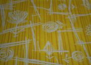 Antique French Art Deco Abstract Floral Cotton Fabric Yellow Brown